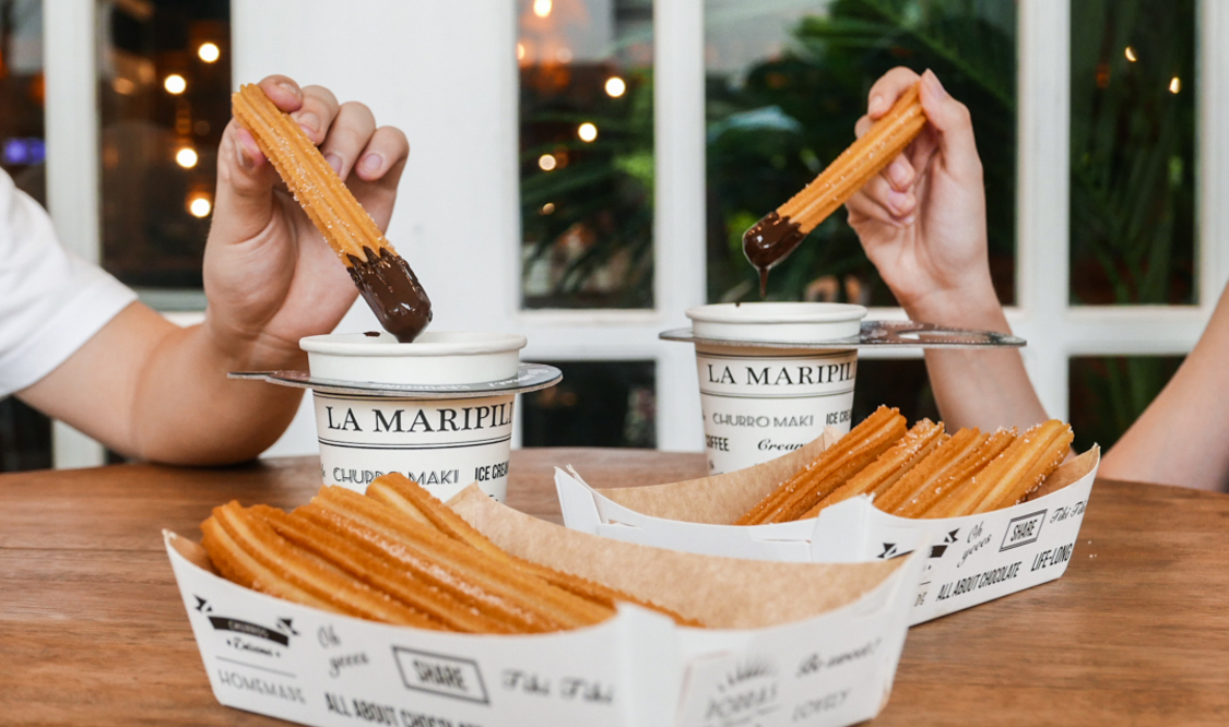 Small Churros with Hot Chocolate Dip