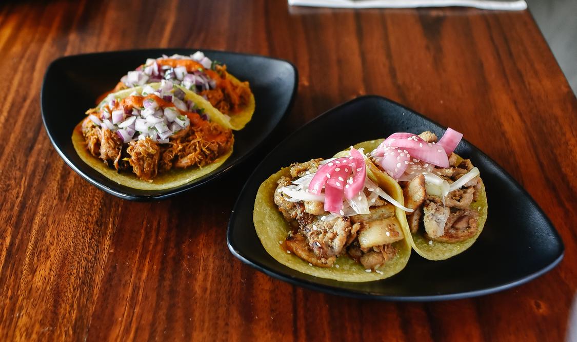Korean Pork Belly Taco and Barbacoa Pork Taco