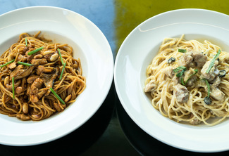 Regular Charlie Chan and Regular Chicken Alfredo
