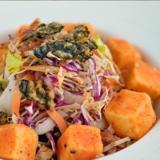 Deep-fried Crispy Tofu with Seaweed Salad