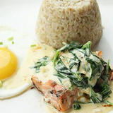 Grilled Salmon in Spinach Cream & Brown Rice