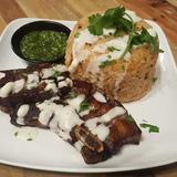 Grilled Pork Belly Rice meal with Chimichurri Sauce