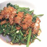Morning Glory with Crispy Pork (Phad Phate Boong)