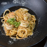 Aligue Pasta with Seared Asian Shrimp